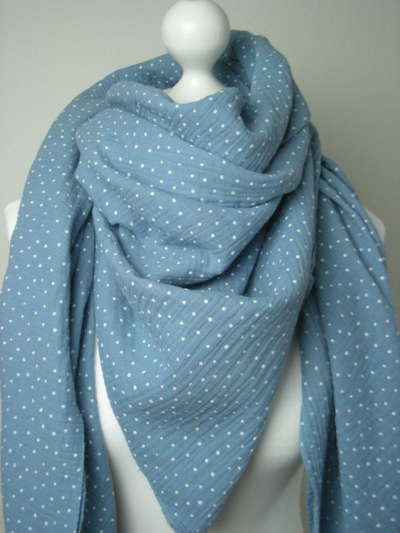 Muslin intuit for women in light blue with dots  triangular  image 0