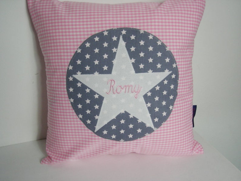 Pillow Vichy-Karo pink with star and name image 0