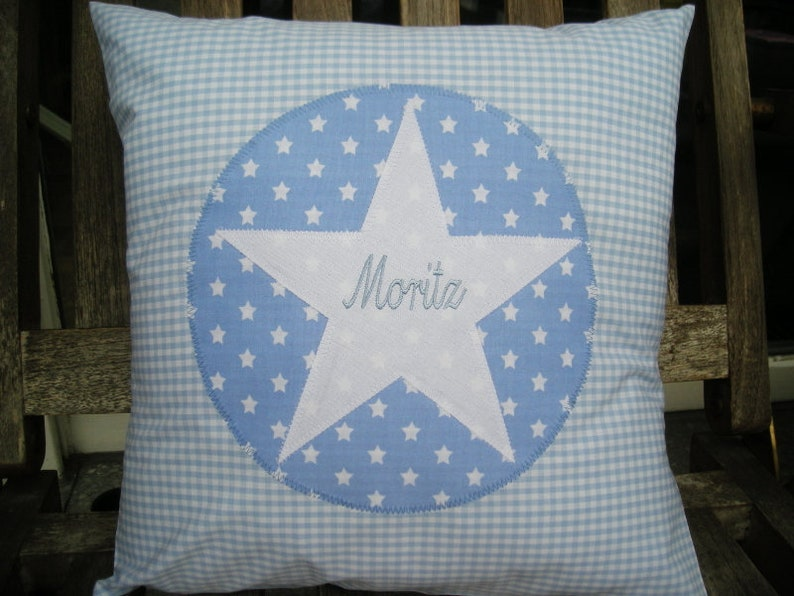 Pillow Vichy light blue with namesake embroidery and star 40 x image 0