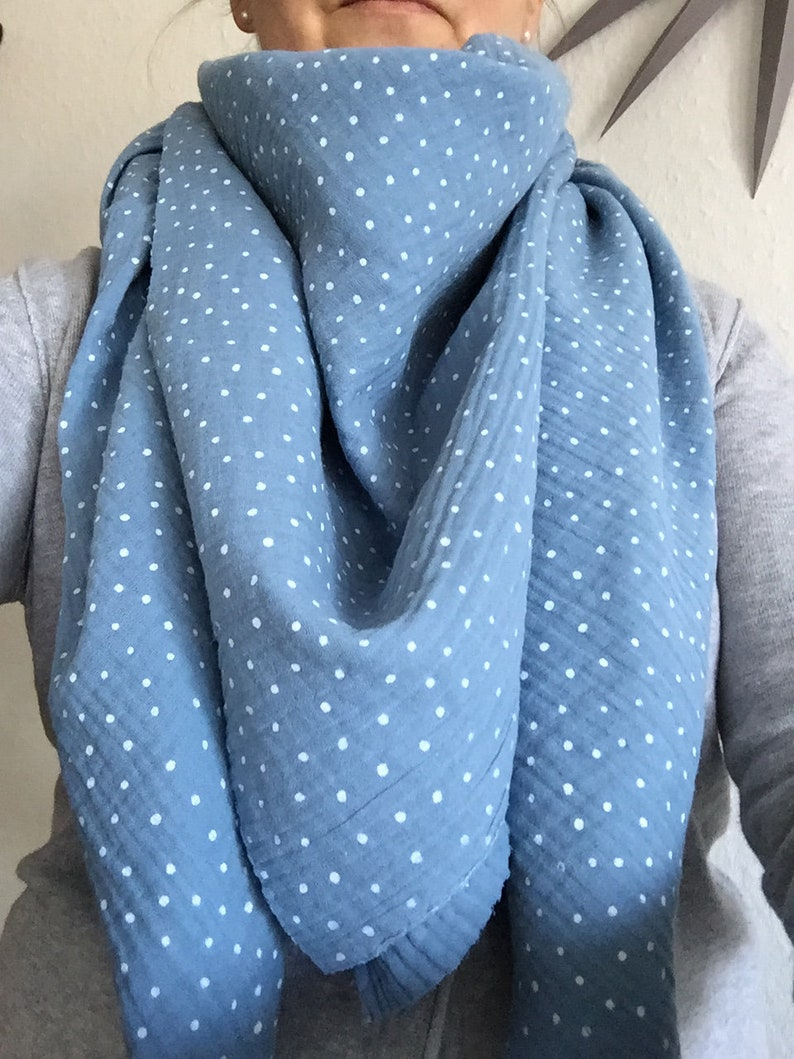 Light muslin trim for women in light blue with dots  triangle image 0