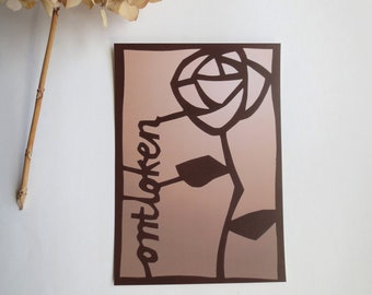 Card Rose unfolded - set of 2 - A5 size - print of cutout rose - wall decoration - Christian art - brown sand color
