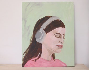 NEW portrait painting Lisa - acrylics on canvas - only one original painting - woman with headphone - mintgreen pink - art wall