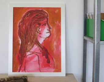 Young woman painting original on thick paper - model painting - unframed pink and terra - loosely painted portrait - happy wall decoration