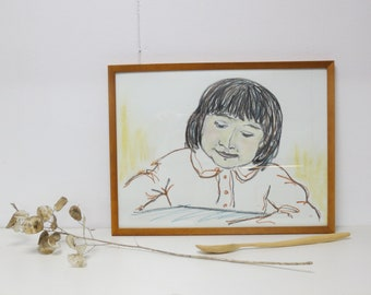 Original charcoal drawing little girl - framed - for your gallery wall art - portrait wall - face - pastel crayon