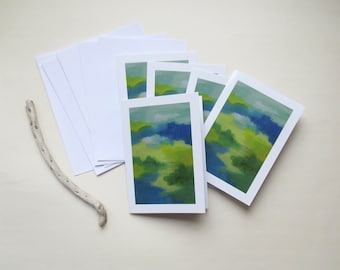 Set of 5 cards SHADES in green and blue - A6 double - envelopes included - greeting card - art abstract card - wishing well hello