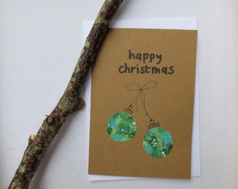 Happy Christmas card handmade - sage green sparkle- set of two - spread some love - card eco A6 double - festive Christmas balls
