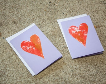 Two Love cards handmade - heart sending love - spread some love - card violet A6 double - snailmail - mothers day - hello friend - valentine