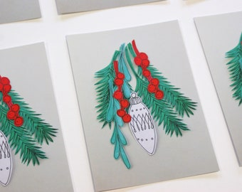 Christmas cards - set of 5 - ZIZOlabel design - Painted paper collage on grey - paper cut - print - happy colors - christmas collage