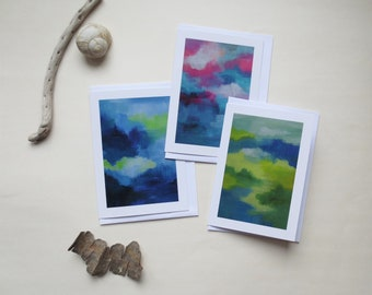 Set of 15 cards SHADES in pink blue green- A6 double - envelopes included - greeting card - art abstract card - wishing well hello