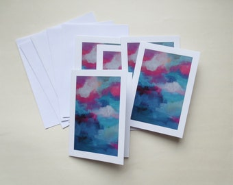 Set of 5 cards SHADES in pink and blue - A6 double - envelopes included - greeting card - art abstract card - wishing well hello