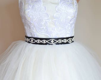 Bridal sash, wedding sash, rhinestone applique sash, black sash, wedding belt, bridal dress belt, crystal sash, satin ribbon sash