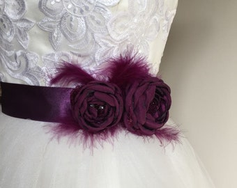 Bridal belt, Plum Bridal sash, Eggplant Floral Bridal Belt, Aubergine Bridal Belt, Flower Wedding Sash, Aubergine Bridesmaids Sash