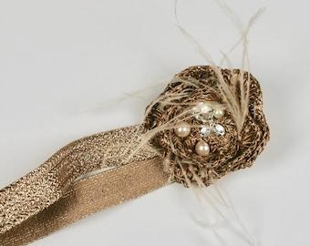 Bridal Accessories, Rhinestone Headband, Gold Flower Headband, Crystal Headband, Channel Style Accessories, Jeweled Headband, Gold Headband