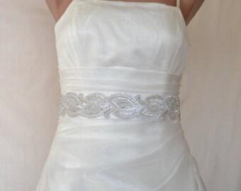 Bridal sash, wedding sash, rhinestone applique sash, ivory sash, wedding belt, bridal dress belt, crystal sash, satin ribbon sash