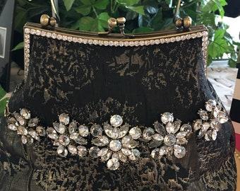 Handbag Custom-made Black Taupe Rhinestone Vintage-Inspired Beaded Evening Bag
