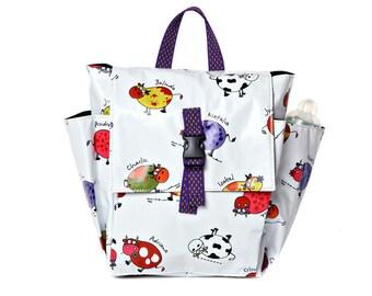Children bag Kids day bag, diaper bag -Lily cows funny  print