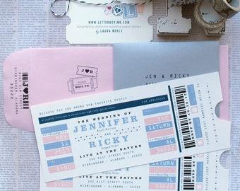 VIP Concert Ticket Wedding Invitation Suite with Tear Away Tab / Stub - Rock Concert Admission Ticket Wedding, Birthday, Bar/Bat Mitzvah
