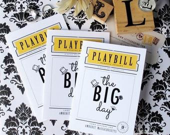 Playbill Wedding Program - Theater Inspired 3 Panel Folded Wedding Ceremony Program with Tear-Away Marriage Advice Guest Book Keepsake Tab