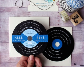 record party invitation 1950s retro inspired lp diecut invitation for surprise birthday party childrens birthday bar or bat mitzvah