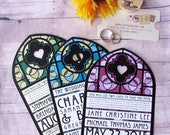 Wedding Program - Stained Glass Cathedral Window Inspired Diecut Order of Ceremony and Wedding Party Card - For Weddings or Vow Renewal