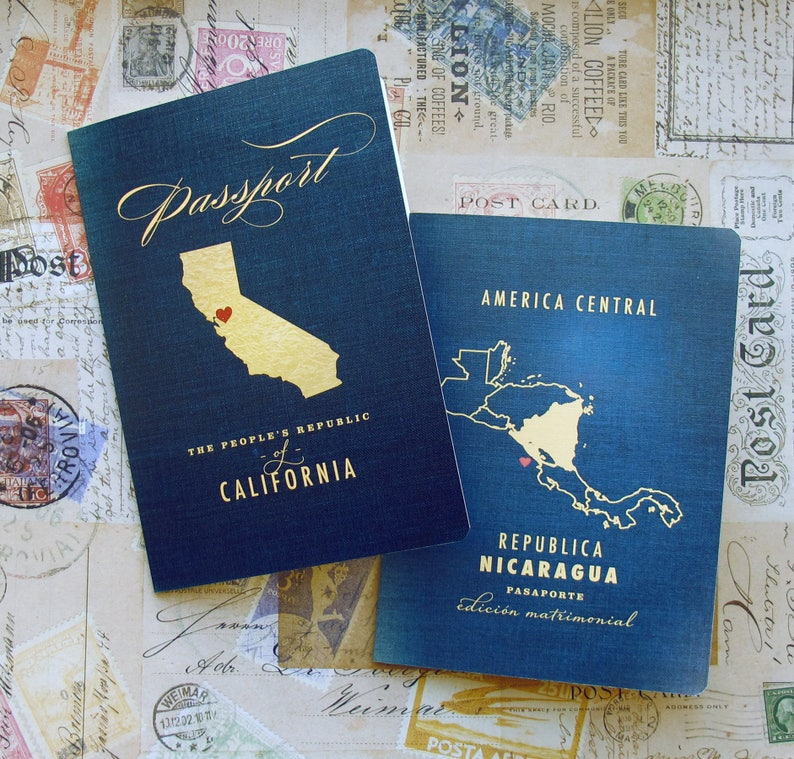Passport Wedding Program  Vintage Travel 2 Panel Folded image 0