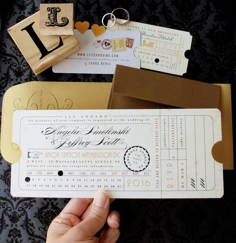 6dc8a27135ec Punch Card Vintage Train Ticket Wedding Invitation Union