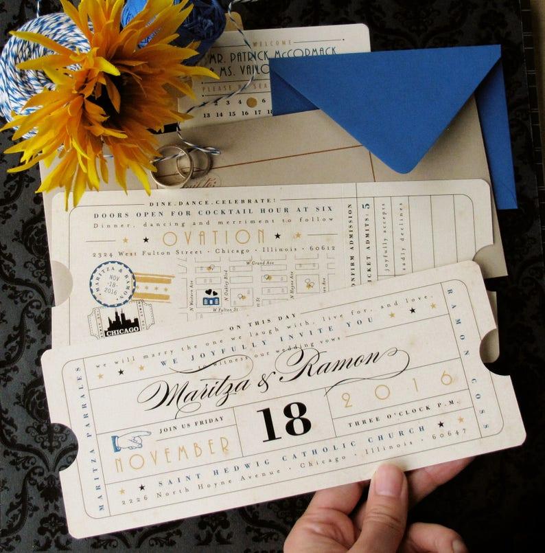 Vintage Ticket Wedding Invitation With Ticket Insert Card 2 Etsy
