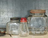 3 Vintage Glass Pantry Jars with Lids 1 with Nut Grinder