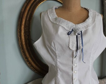 Vintage Edwardian  Camisole Blouse with Hand Made Lace Collar