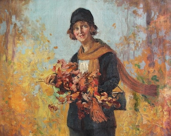 Antique Oil on Canvas Woman with Fall Leaves Painting Signed Charles Waltensperger Listed Artist