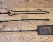 Antique Hand Forged Iron Fireplace Hearth Tools Shovel, Poker, and Tongs