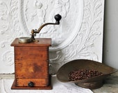 Vintage Cast Iron and Wood Coffee Mill Grinder