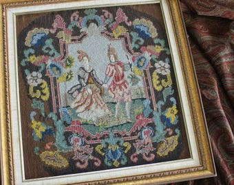 Antique Petite Point Needlepoint of Young Lovers