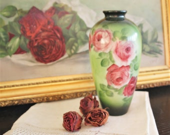 Antique Hand Painted Lush Roses Glass Vase