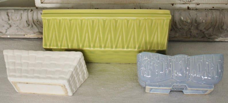 3 Vintage Pottery Window Box Planters
