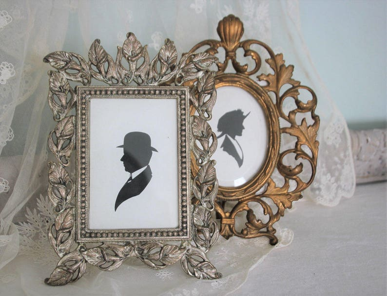 Decorative Arts Picture Frame Antique Gilt Cast Iron With Stand Very Good Picture Frames