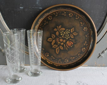 Vintage Toleware Beer Tray with Stencil Painted FlowersTole Ware