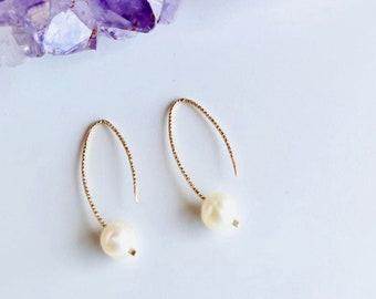 Pearl Earrings, Pearl Threader Earrings, Fresh Water Pearl Earrings, Threader Earrings