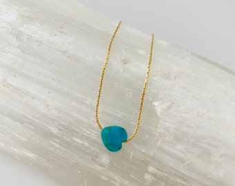 Turquoise heart necklace, Tiny turquoise heart necklace, Faceted turquoise heart necklace, Mommy and Me Necklace