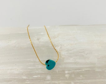 Turquoise heart necklace, Tiny turquoise heart necklace, Mommy and Me Necklace