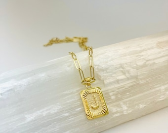 Vintage style initial necklace, gold initial necklace, rectangle initial necklace, paperclip chain necklace