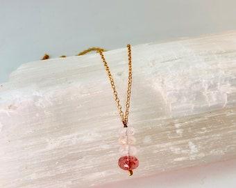 Breast Cancer Necklace, Rose Quartz Necklace, Muscovite Necklace, Strawberry Quartz Necklace, The Stephanie Necklace