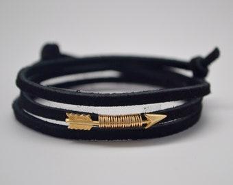 Leather Wrap Bracelet, Arrow Bracelet, Black Leather Wrap Bracelet,Boho Wrap Bracelet, Gold Arrow Bracelet, Angel