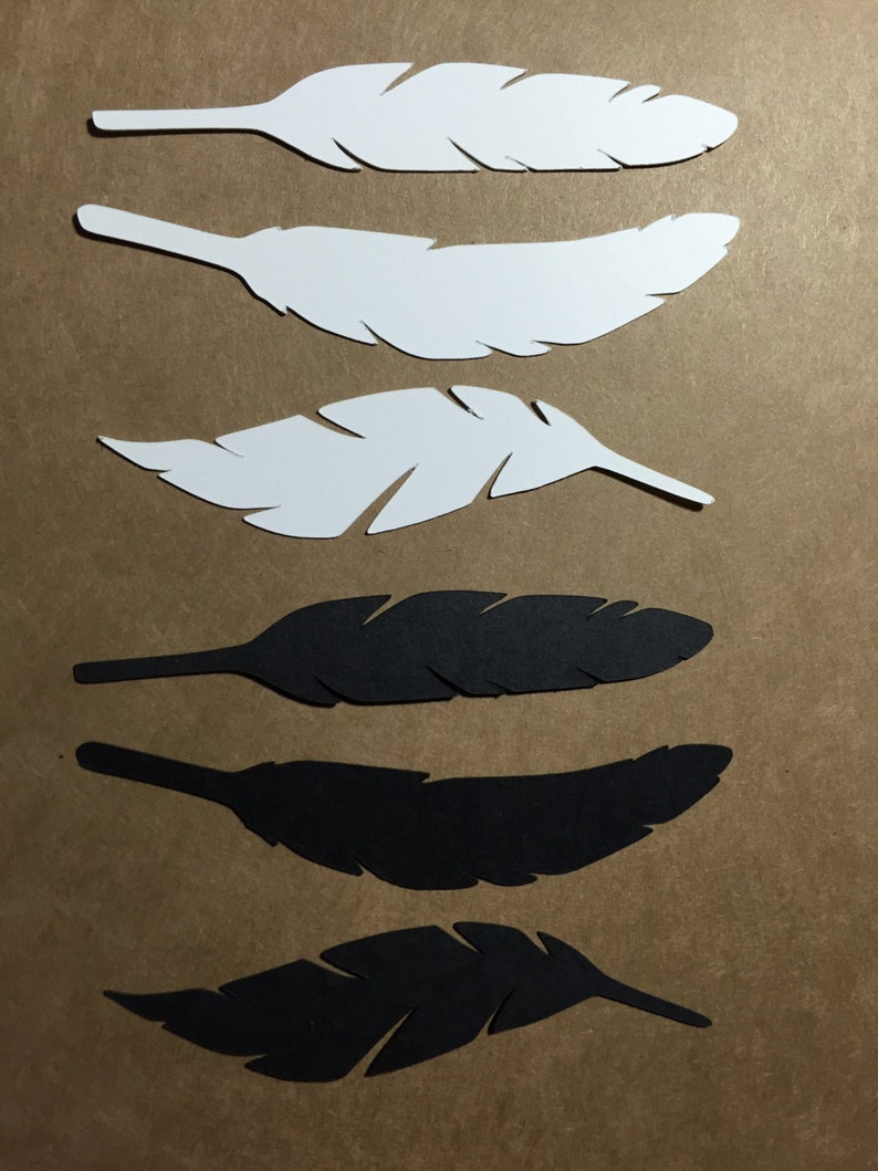 6 die cut feathers  black and white image 0