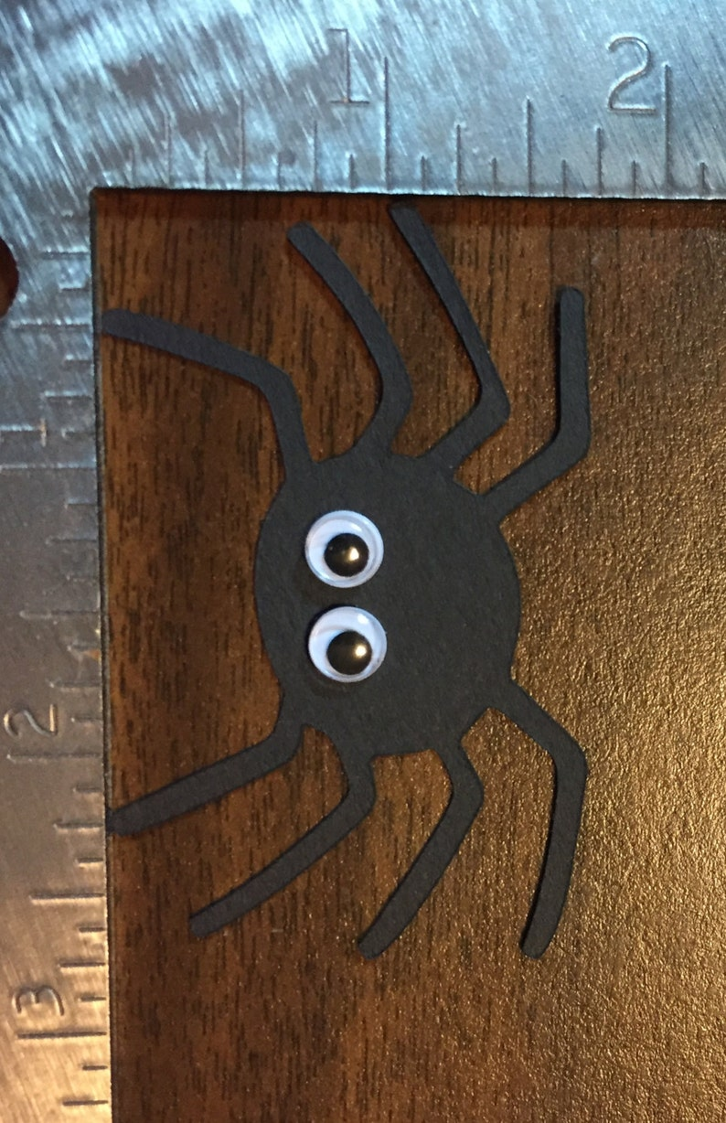 1.75 black spider with wiggly eyes  die cut image 0
