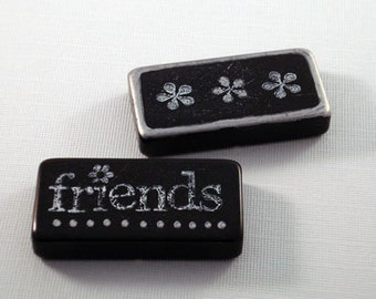 Altered Art Domino Magnets Set of 2 -- Retro -- Black and Silver -- Friends and Flowers