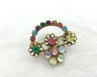 Czech Glass  Victorian Style Brooch Moon glow Basket Edwardian pin