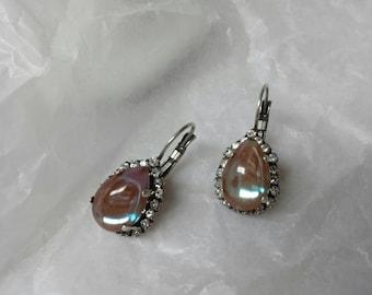 Rare Saphiret tear drop Pierced earrings  mint condition.