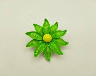 Green Dahlia  enamel flower brooch Summer time