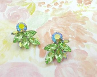 Weiss Green Navette Rhinestone Clip earrings Large Art Deco Gorgeous